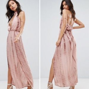 Missguided Pink Tie Dye Maxi Dress